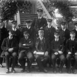 Connel Ferry Station 1920c. Staff. LR Back- Baldy Bruce, ?, ?, ?, ?, D MacCorquodale, Ewan MacKinnon. Front row- ?, Peter Bruce (Clerk), Archie Bruce (Station Master), ?, John Colthart (Brunside). Source- Jessie MacKenzie