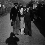 Ballachulish Station Archie Sinclair, Oban, Jessie MacKenzie (nee Rowan) and Allan MacLean, Ballachullish. Taken at 7am on 17th April 1961.