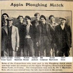 Ploughing Match 1953. L-R, Kenny McInnes, Donald Tyson, Tommy MacInnes, Robert Brown, Alistair Jackson, Bill Colqhoun, Archie MacKenzie, Jimmy Tait. Names provided by James Ross.
