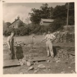 Appin Terrace 1950c. At the construction of Appin Terrace. Neil Macintyre and Donald Carmichael. Source- Bertie Lawrie.