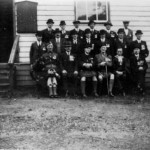 Appin British Legion Appin Hall. Front row L/R: Cpl MacColl, Dr Joseph Campbell, Col. Stewart Achnacone, Capt. MacDougall Druimneil, Rev. John MacDonald, MacKay, Airds Cottage (fought in the Boer War and WW1). Middle row: Archie Cameron, Donald MacInnes, ?, Jim Clement Airds Farm, Donald MacPhee Glencreran, Duncan MacColl Glenure. Back row: ?, ?, Duncan McMaster Achosrigan (Postman), ?, Duncan Campbell Tynribie (Blacksmith), ?.
